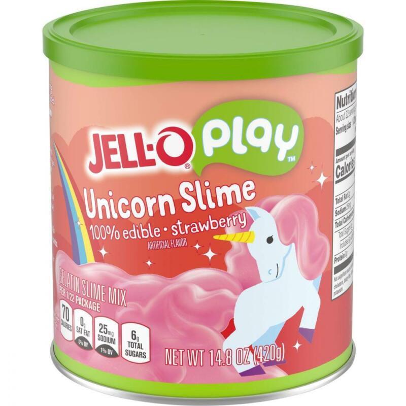JELL-O Strawberry Unicorn Play Slime Gelatin Dessert Mix 14.8 Ounce, Pink