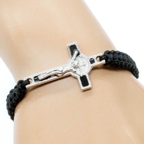 Black Cord Saint St. Benedict Medal Crucifix Cross Macrame Bracelet - Adjustable
