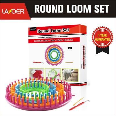 LAYOER Round Knitting Looms Set Craft Kit Tool with Hook Needle 4 Piece