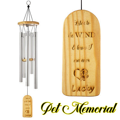 Engraved Wind Chimes - Personalized Engraved Bamboo Remembrance Wind Chimes Pet Memorial Wind Chime m