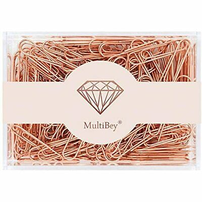 Rose Gold Paper Clips Non-skid Smooth Finish Steel Wire Medium Large Size 200pcs