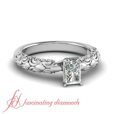 .60 Ct Radiant Cut Diamond Solitaire Filigree Engagement Ring In Platinum GIA