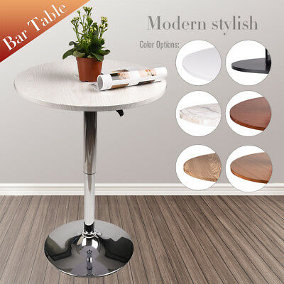 24'' Adjustable Wood Round Pub Bar Bistro Table Desk Swivel Kitchen Dining (Patio Bistro Dining Table)