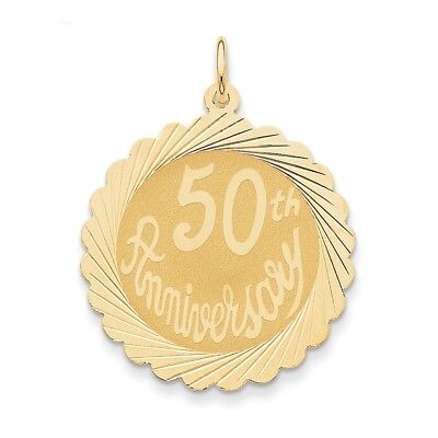 """14K Yellow Gold Happy """"50th Anniversary"""" Laser Etched Charm/Pendant 3.66 Gms"""