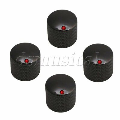 4 Pieces Black Dome Knobs Knurled Barrel with Red Dot for Electric Guitar Parts