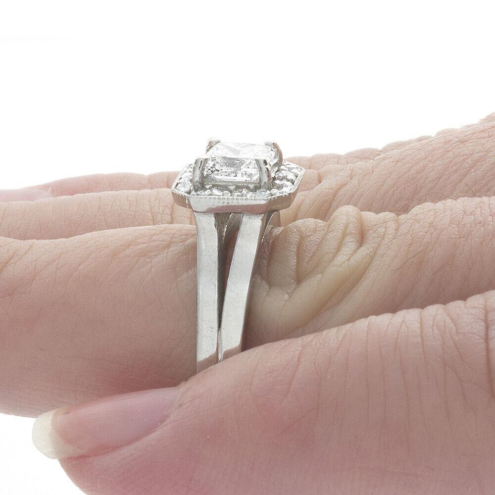 GIA Certified Diamond Engagement Ring 1.24 Carat Princess Cut 14k White Gold  2