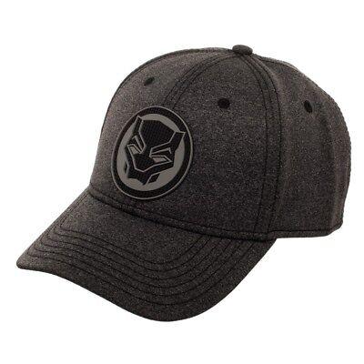 Marvel Black Panther Rubber Weld Cationic Flex Fit Baseball Cap Black Flex Fit Cap