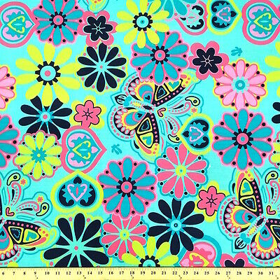 Botanical Garden Aqua Print Fabric Cotton Polyester Broadcloth By The Yard 60