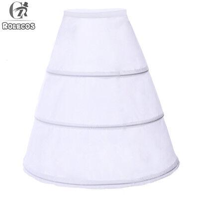 3-hoop White Wedding Dress Gown Crinoline Petticoat Skirt Slip Underskirt Hoops - White Petticoat Skirt