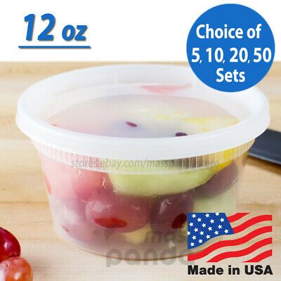 12 oz Heavy Duty Small Round Deli Food/Soup Plastic Containers w/ Lids BPA free Heavy Duty Containers
