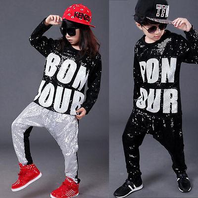 Tap Ballroom dancing for Girls Boys Kids Jazz Hip Hop Dance Costume Top+Pants