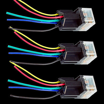 12V 3PCS Car Trunk 80A 80AMP SPDT Transparent Relay & Socket 5Pin 5P