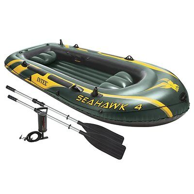 Intex Seahawk 4 Inflatable 4 Person Floating Boat Raft Set With Oars   Air Pump