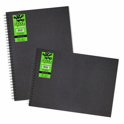 Artgecko Shady Gecko Wire-bound Black Card Sketchbook A3 (Portrait or Landscape)