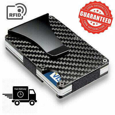 Carbon Fiber Money Clip Wallet Men RFID Blocking Minimalist Credit Card Holder