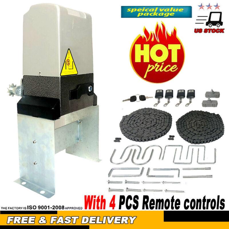 Automatic Sliding Gate Opener Chain Driveway Kit W/ 4X wireless Remote Control