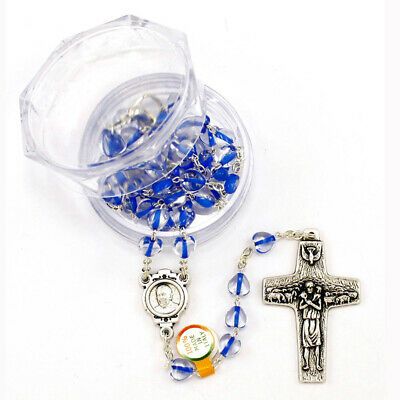 Heart Shaped Rosary Beads with Blue Crystal Beads