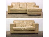 SUPERB DFS CAESAR CORNER CHAISE & TWO SEATER SOFA IN NUDE LEATHER SUITE