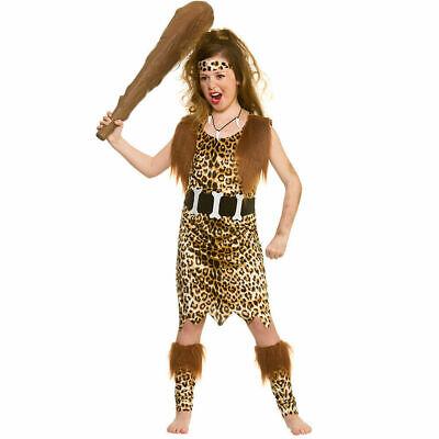 Cave Girl World Book Day Tarzan Fancy Dress Costume w/ Club Child Age 8-10 - New