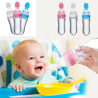 Baby Silicone Squeeze Feeding Bottle With Spoon Food Rice Ce