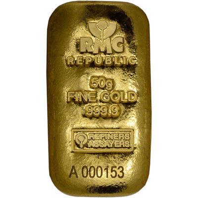 50 gram RMC Gold Bar - Republic Metals Corp - 999.9 Fine (Cast)