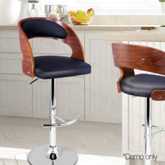 Wooden Bar Stool with PU Leather Seat Black/White
