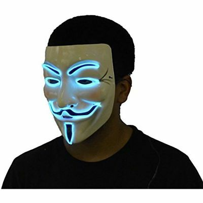 V FOR VENDETTA ANONYMOUS GUY FAWKES LED EL WIRE MASK FLASHING RAVE COSTUME -BLUE - Halloween Costumes For Raves