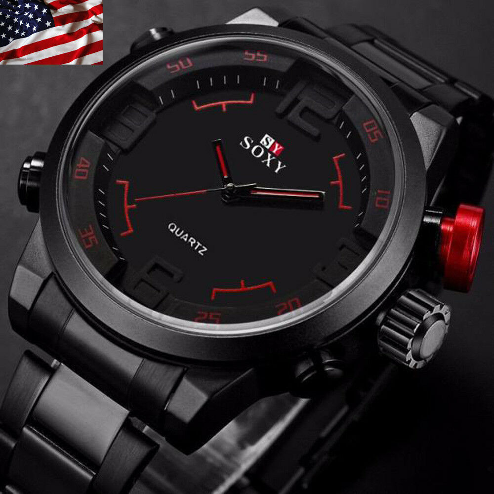 $9.19 - Mens Luxury Army Sport Wrist Watch Waterproof Analog Quartz Watches US STOCK