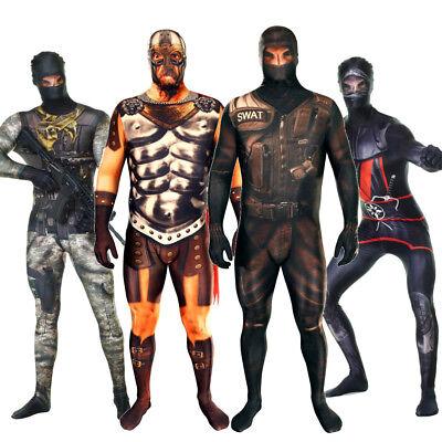 Morphsuit Faux Real 3D Fancy Dress Costume XL Biker Ninja Soldier Gladiator SWAT
