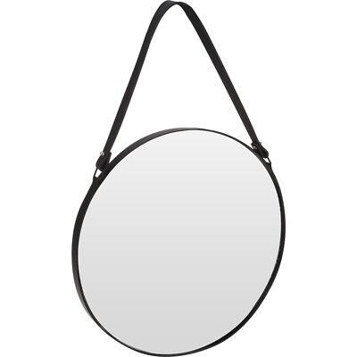 Wandspiegel im Metallrahmen, runder Spiegel auf Lederband - Ø 40 cm