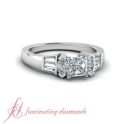 Marquise And Tapered Baguette Unusual Princess Cut Engagement Ring GIA 1.15 Ct Princess Cut Tapered Baguettes