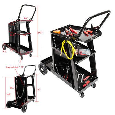Universal Welder Welding Cart Mig Tig Arc Plasma Cutter Tank Storage Hand Push