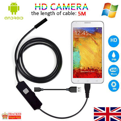 USB Endoscope Borescope Snake Inspection Camera for Android Mobile Phone 5M