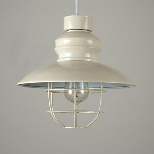 Modern Gloss Cream Metal Fishermans Ceiling Pendant Light Shade with Cage Lamp