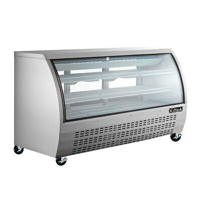 New 82 Deli Case Stainless Glass Refrigerator Display Case Bakery Pastry Meat