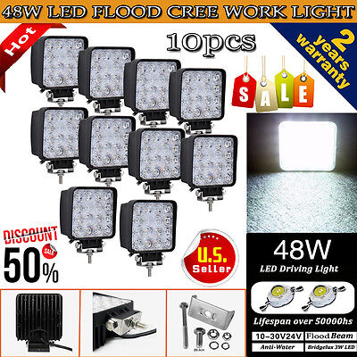10PCS 48W Cree LED WORK LIGHT BAR FLOOD BEAM LAMP OFFROAD TRUCK 12V SUV UTE ATV