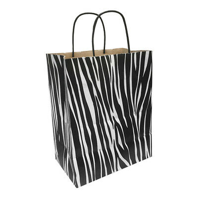 Kraft Paper Cub Shopping Gift Bags With Handles Zebra Printed Set 10 Pc 8