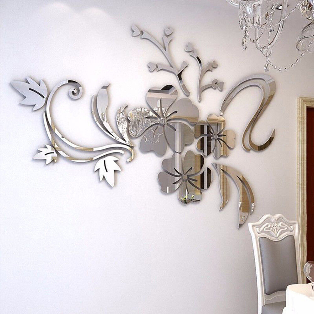 Home 3D Flower Vase DIY Mirror Wall Art Sticker Room Decal Mural Decor Removable