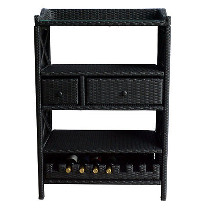 Wine Bar Wicker Rack 8 Bottle Holder Pull Out Cabinet Liquor Counter Glass Top