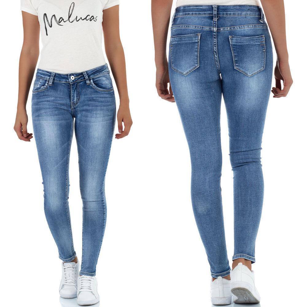 Malucas Damen Skinny Jeans Low Waist Hose Röhrenjeans Röhrenhose Hüftjeans Denim
