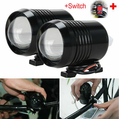 2X 30W CREE U2 Motorcycle LED Driving Headlight Fog Spot Light+Switch Black UK