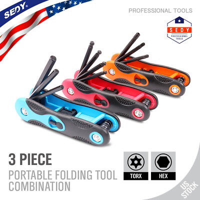 24pc Folding Hex Key Allen Wrench Set Ball End Torx Bit Metric Combination Tool -