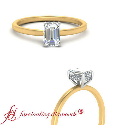 3/4 Carat Emerald Cut Diamond Delicate Shank 2 Tone Hidden Halo Engagement Ring