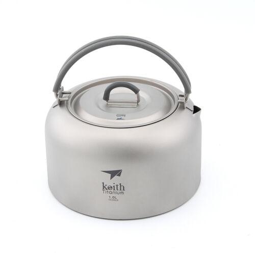 Keith Ti3901 1.0L Titanium Kettle Camping Picnic Cookware Coffee Tea Water
