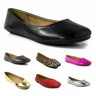 Womens Ballet Flat Comfort Classic Slip On Loafers Ballerina Shoes Color NEW ()