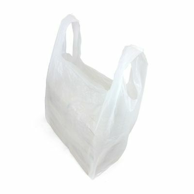 1000 x PLASTIC LARGE CARRIER BAGS WHT STRONG VEST SHOPPING SUPERMARKET 11X17X21