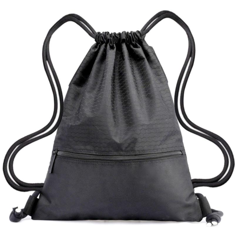 c5ee189549a1 Details about Drawstring Backpack Bag String Waterproof Sackpack Black  Sport Gym Backpacks