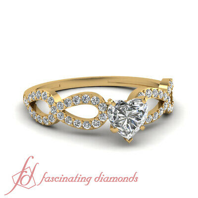 Infinity Style Pave Set Diamond Ring 3/4 Carat Heart Shape And Round Accents GIA