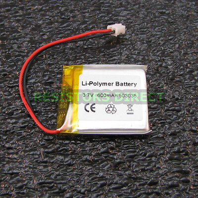Lithium Ion Polymer 3.7v Rechargeable Battery 600mah Project Arduino Lipoly Y24