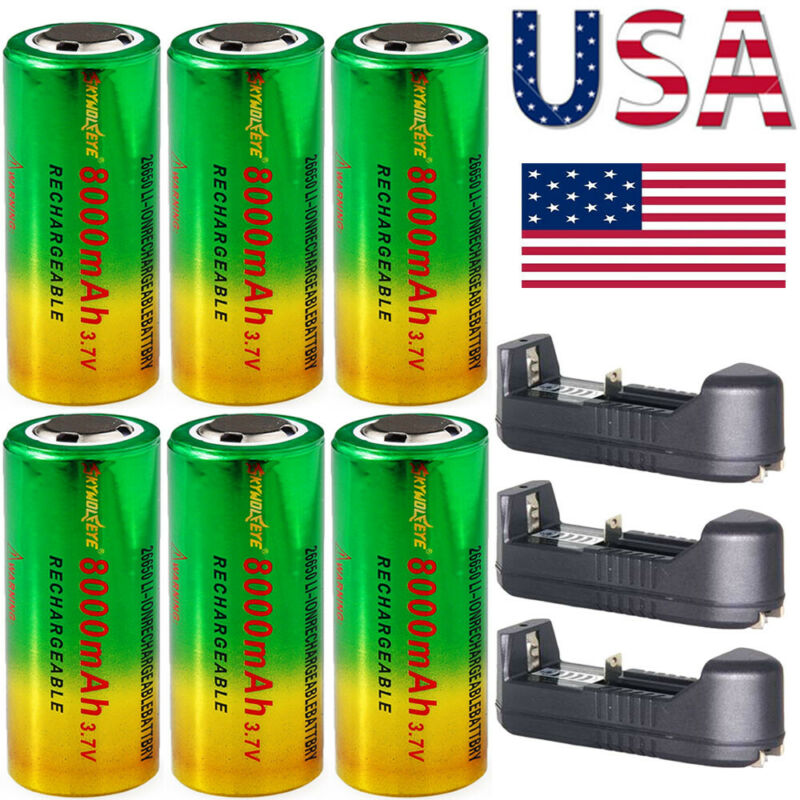 2-10pcs 3.7V 26650 Batteries Rechargeable Li-ion Battery For Torch Flashlight US - $11.79